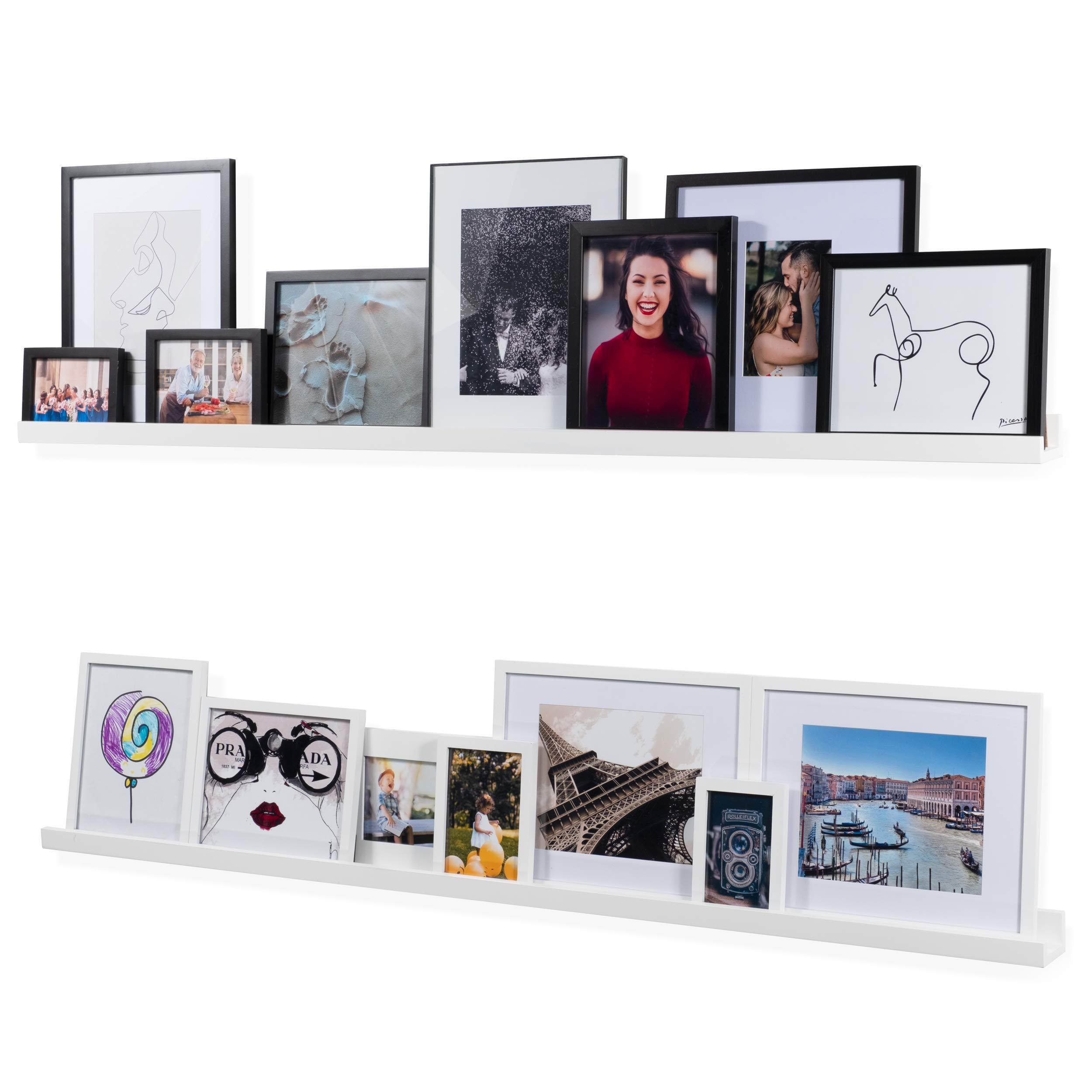 Wallniture Denver Modern Wall Mount Floating Shelves – Long Narrow Picture Ledge - 60 Inch White Set of 2 Mounting Hardware Included
