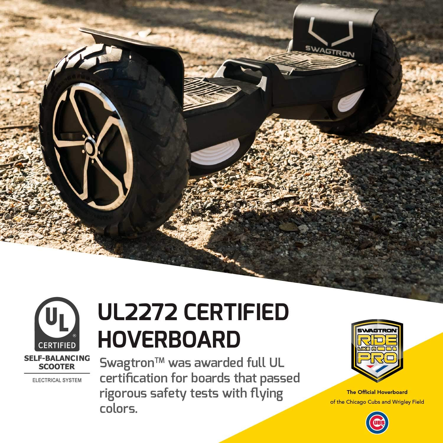 Swagtron Swagboard Outlaw T6 Off-Road Hoverboard - First in The World to Handle Over 380 LBS, Up to 12 MPH, UL2272 Certified, 10' Wheel (Black)