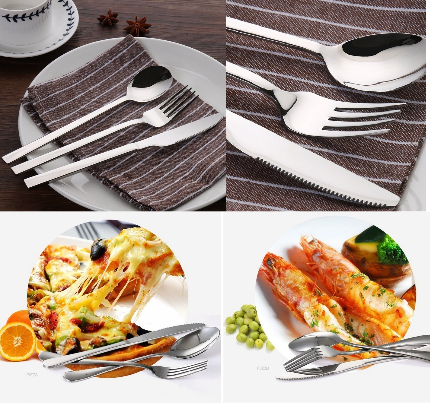 Rainbow - Ye 18 Pieces Stainless Steel Cutlery Set Mirror Polished Tableware Set Utensil Set Include Knives, Forks, Spoons for The Steak,is Kitchen Hotel Restaurant Wedding Party Best Choice