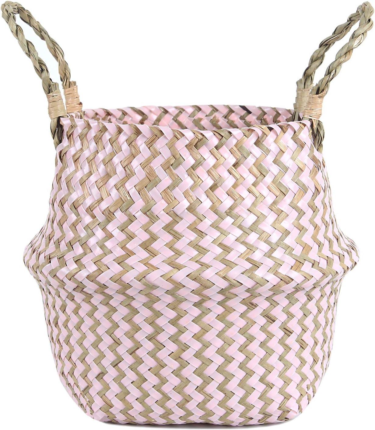 almacenamiento para macetas de frutas Cesta para la colada de mimbre tejida para decoraci/ón del hogar organizador de basura con asa azul Small FEILANDUO