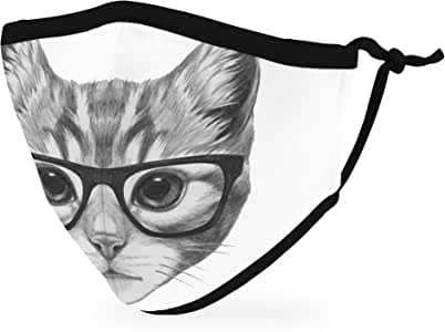 Weddingstar Kid's Washable Cloth Face Mask Reusable and Adjustable Protective Fabric Face Cover w/Dust Filter Pocket - Nerdy Cat