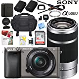 Sony Alpha a6000 24MP Mirrorless Camera 16-50mm & 55-210mm Zoom Lens + 64GB Accessory Bundle + Deluxe Gadget Bag + Extra Battery+Wide Angle Lens+2x Telephoto Lens (Executive Accessory Kit, Grey)