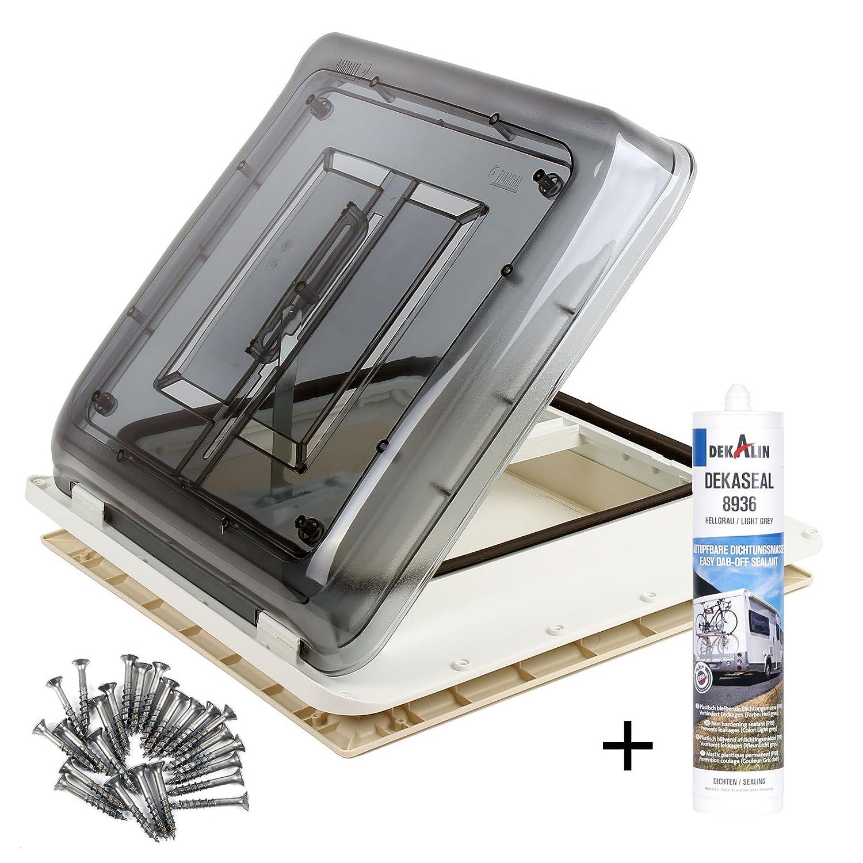 Fiamma Dachfenster Vent 40x40 cm Klar + Dekalin Dichmittel + Schrauben fü r Wohnwagen Oder Wohnmobil Fiamma - Dekalin