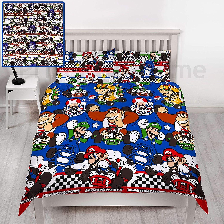 Nintedo Mario Kart 'Racer' Single/Double Duvet Cover Reversible Bedding Set