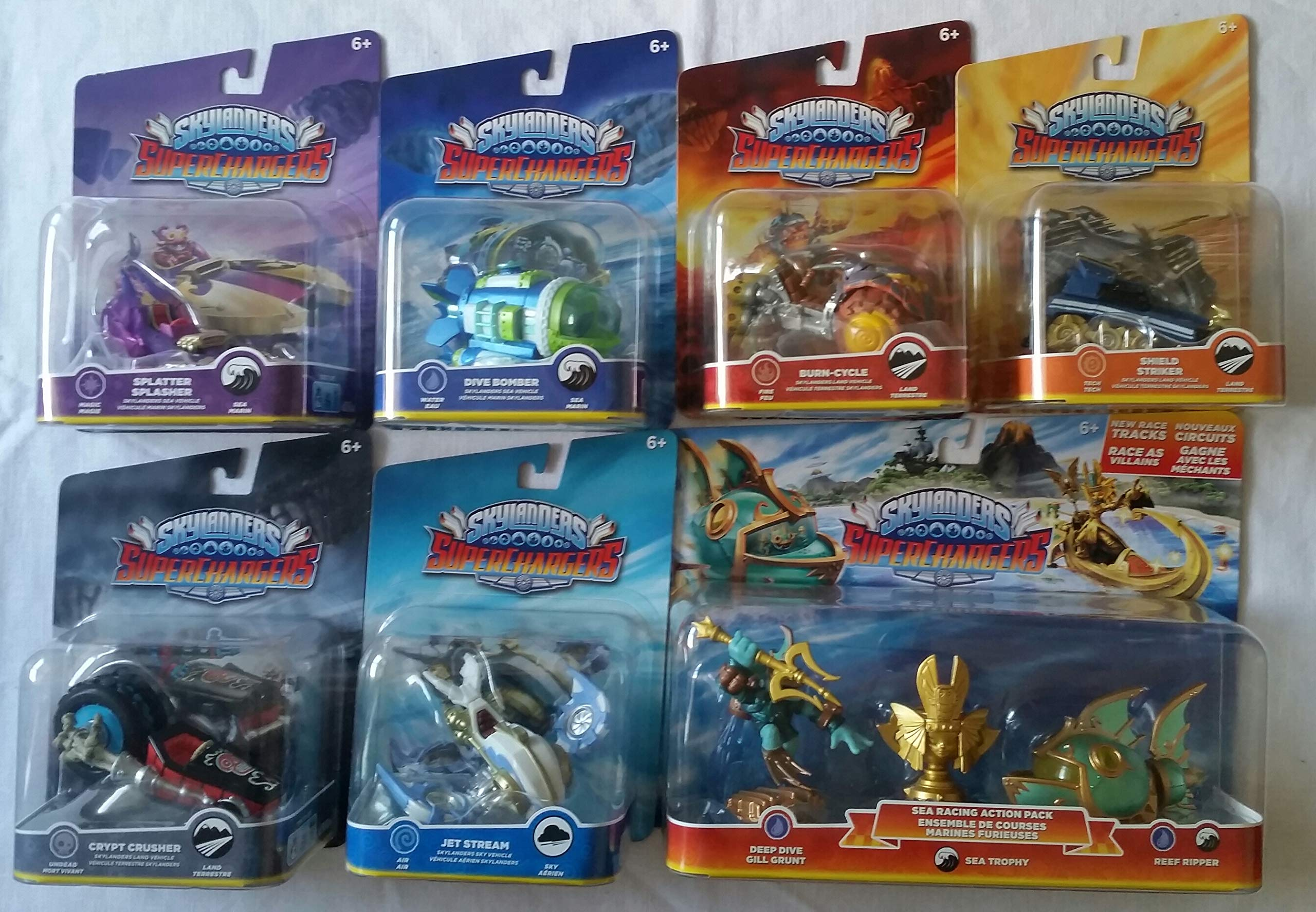 Skylanders SuperChargers 7 Pack Vehicle Starter Bundle! 7 Vehicles, 1 Trophy, 1 Character: Crypt Crusher, Dive Bomber, Jet Stream, Splatter Splasher, Shield Striker, Burn-Cycle , and Sea Racing Pack
