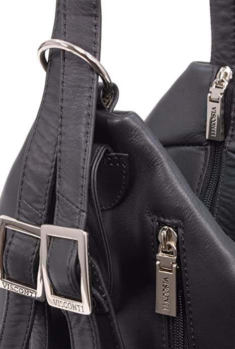 4fe3a802b4ed Visconti Women s Back Pack Handbag - Genuine Leather- Adjustable Straps Top  Handle Stylish Hardwearing Organiser Leisure Secure Zip Fastening -18357 -  DANII ...