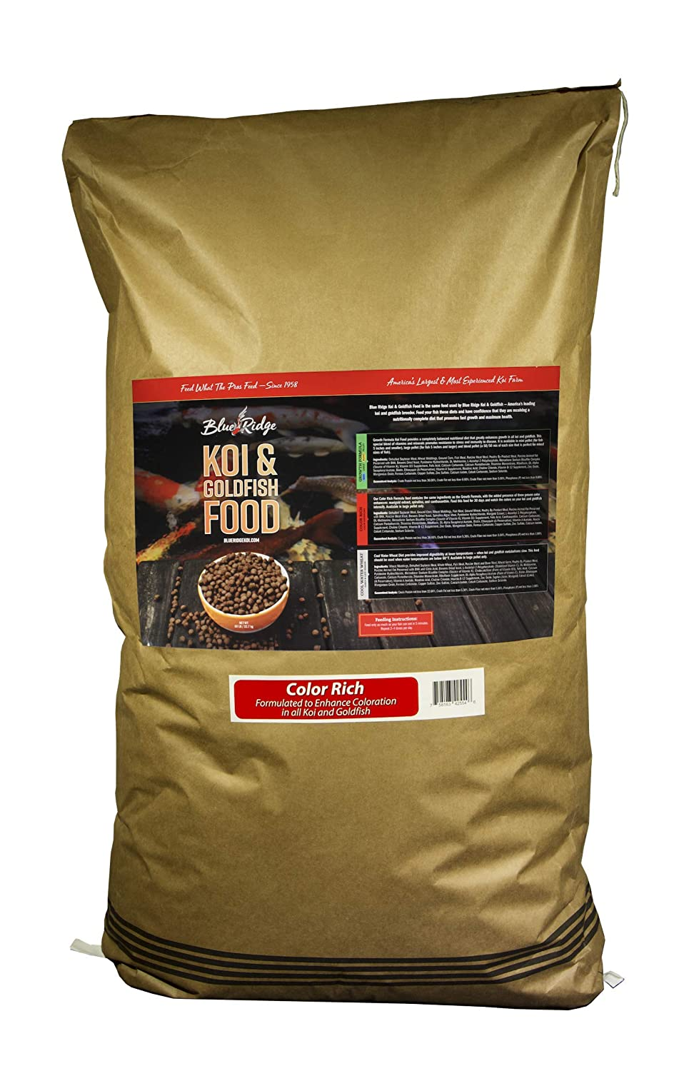 "Blue Ridge Fish Food Pellets, Koi and Goldfish Color Rich Formula, Floating 3/16"" Pellet, Balanced Diet"