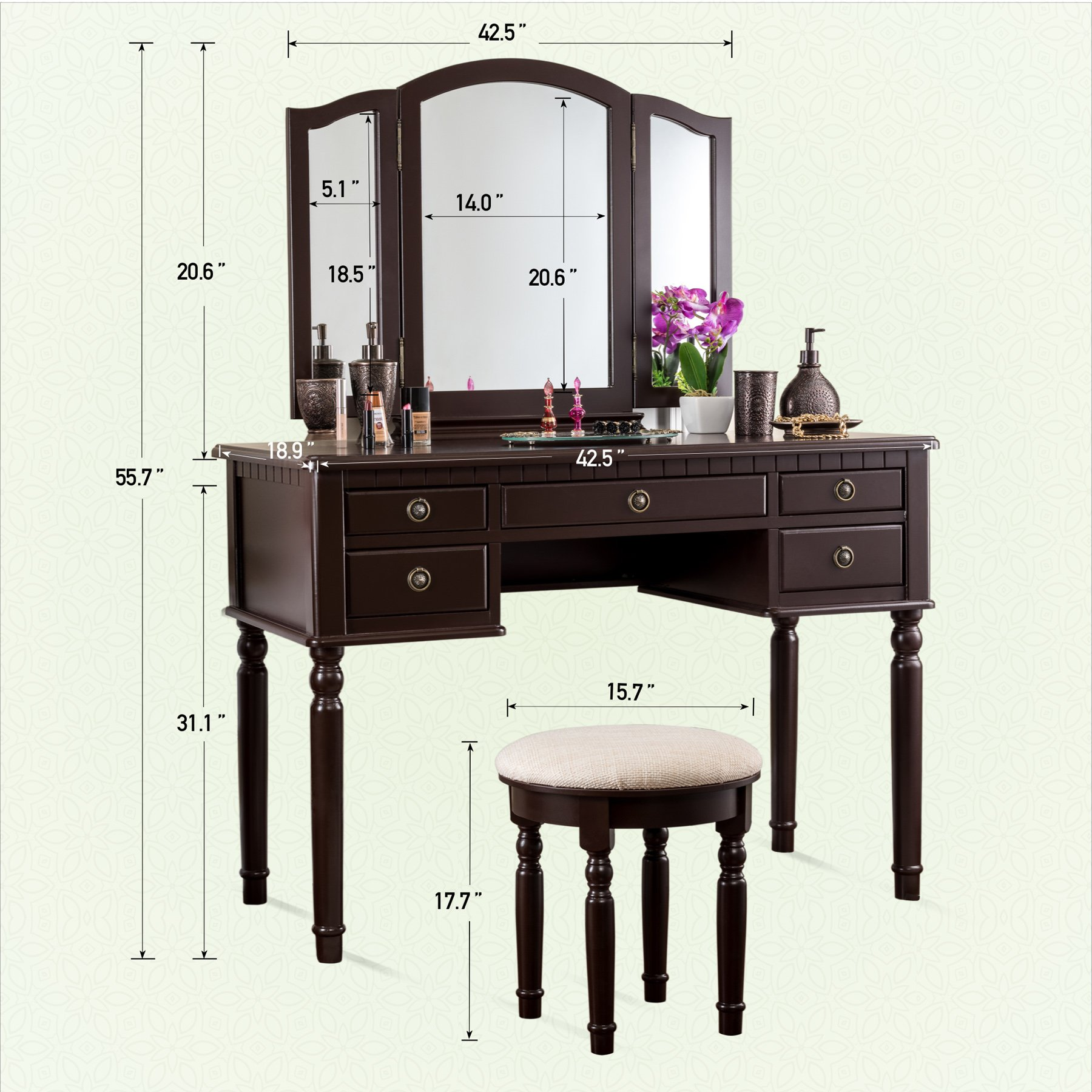 Fineboard Dressing Set with Stool Beauty Station Makeup Table Three Mirror Vanity Set, 5 Organization Drawers, Brown by Fineboard (Image #4)