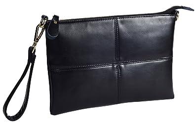 acef3d6a77888 Forestfish Ladies' Black Leather Crossbody Handbag Wristlet Handbag Clutch  Purse with Strap