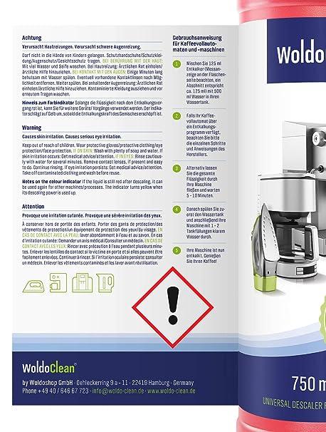 Descalcificador para cafetera concentrado liquido 750ml - Compatible con marcas Delonghi, Dolce Gusto, Nespresso, Seaco, Krups Senseo: Amazon.es: Hogar