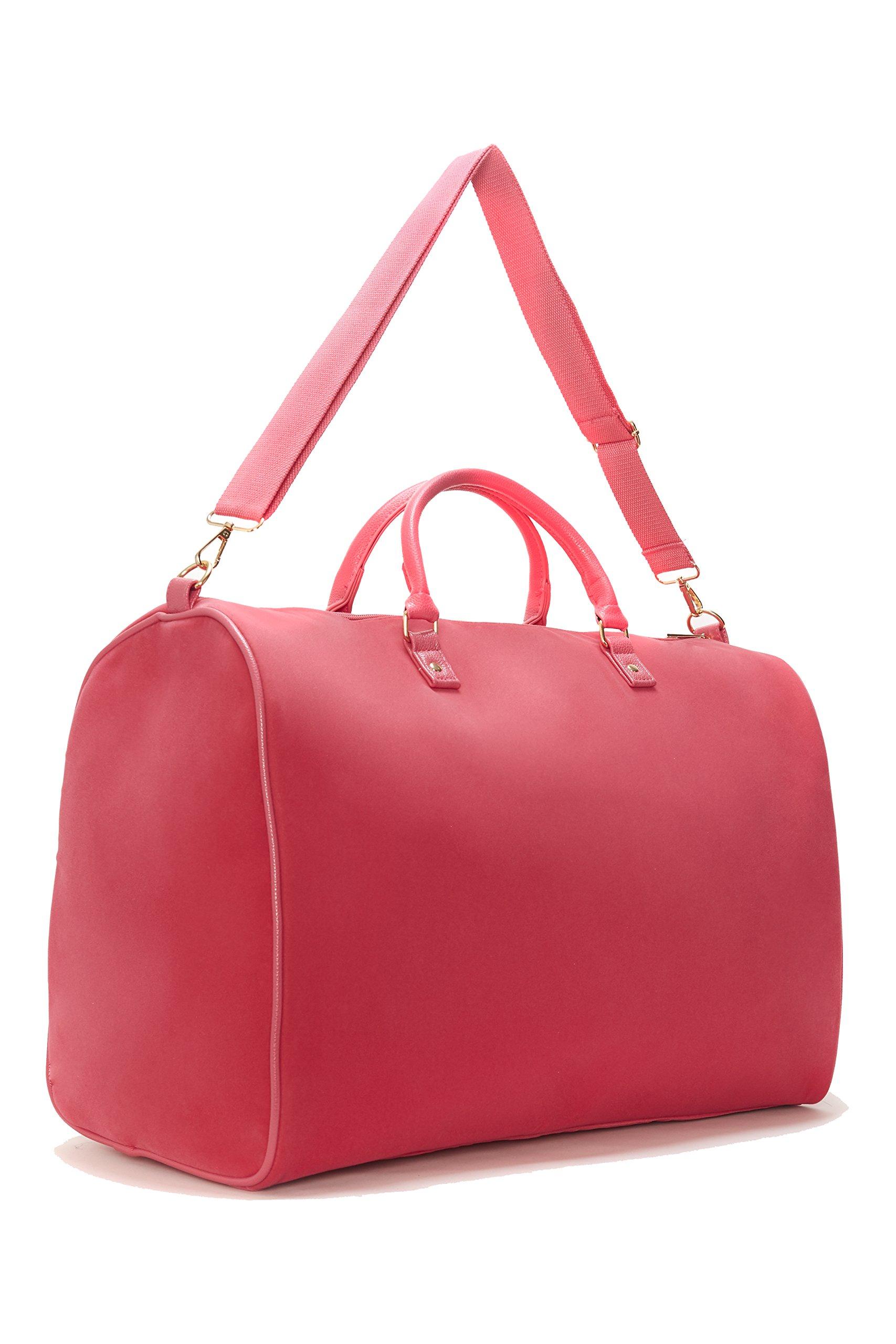 Limited Time Sale - Women's Fuchsia Velvet Weekender Bag, Duffle Bag, Overnight Bag, Travel Bag, Luggage (Fuchsia) MSRP $99