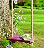 Plow & Hearth Durable Hanging Rope Tree Swing with Wooden Seat, Painted Distressed Red Finish, Vintage Nostalgic Design, Oversized Design for Children and Adults, 24 L x 15 W Seat, 11'6 Rope