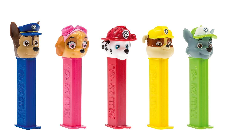 PEZ set de dispensadores Paw Patrol (5 dispensadores con 3 recargas de caramelos PEZ de 8,5g c/u) + 1 paquete de recargas (8 recargas de caramelos PEZ de 8 ...