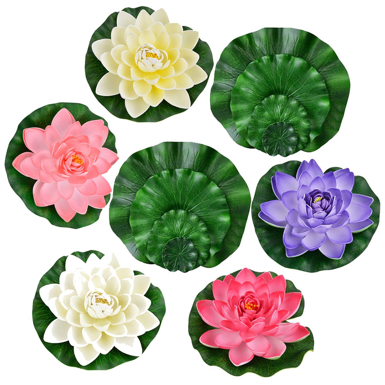 Legendog 13 Pcs Artificial Floating Lotus Flowers with Fake Lotus Leaves, Home Garden Pond Aquarium Wedding Decor