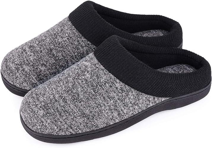 Amazon Com Women S Warm Cotton Knit Memory Foam Slippers Soft