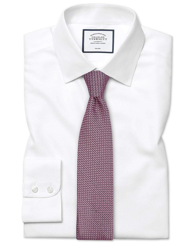 Chemise à Motif à Effet Tirets Blanche Coupe Droite Sans Repassage   Blanc (Poignet Mousquetaire)   20   37