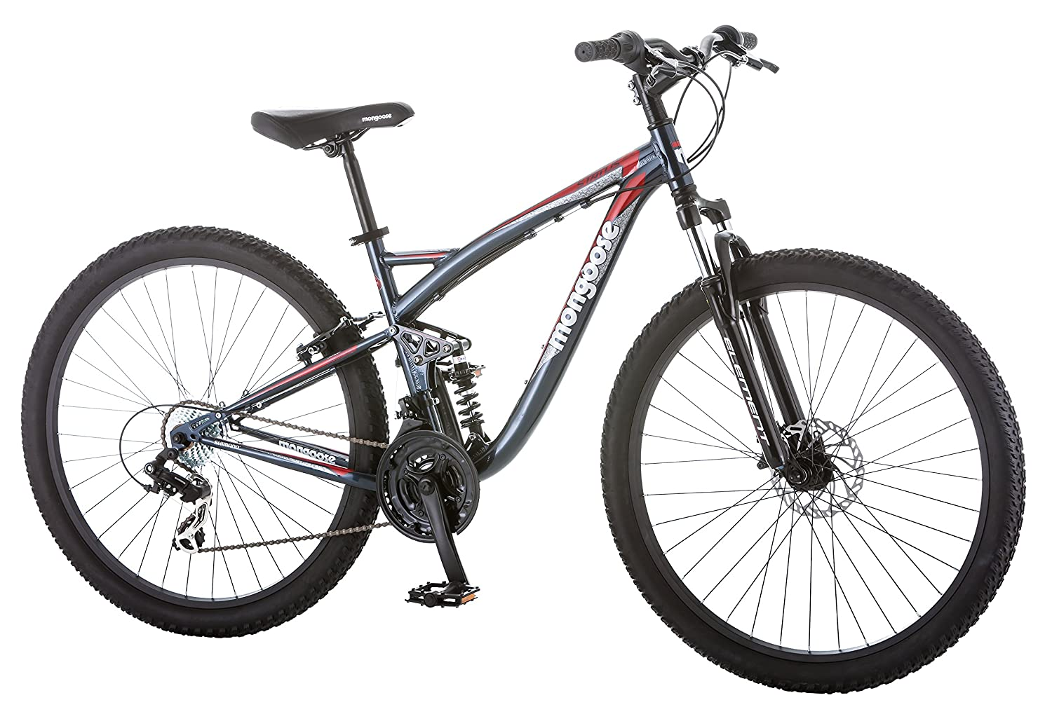 Mongoose Men s Status 2.4 27.5 Wheel Full Suspension Bicycle, Steel Blue, 18 Medium Frame Size