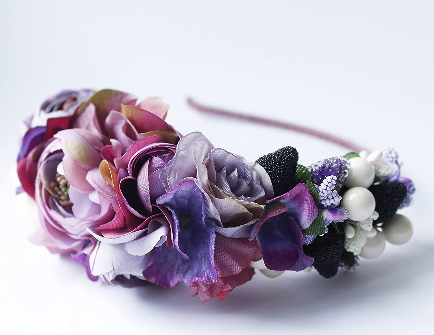 Amazon Wedding Purple Flower Headband Floral Headpiece Handmade