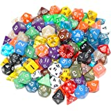ABO Gear 100+ Pack of Random Polyhedral Dice with Large Velvet and Satin Dice Bag