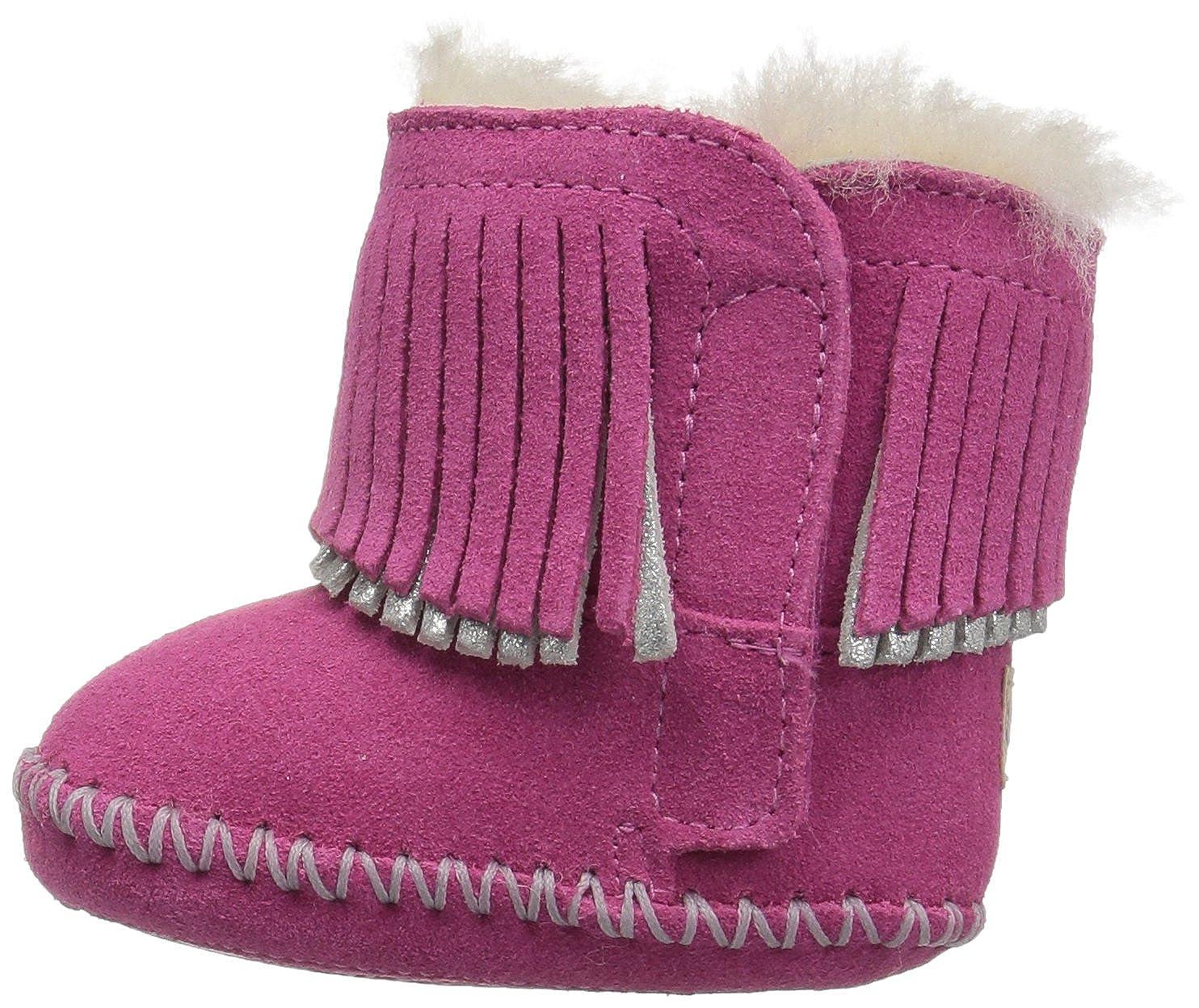 b718ef9fa32 UGG Girls I Branyon Fringe Boot, Pink Azalea/Metallic, 0/1 M US Infant