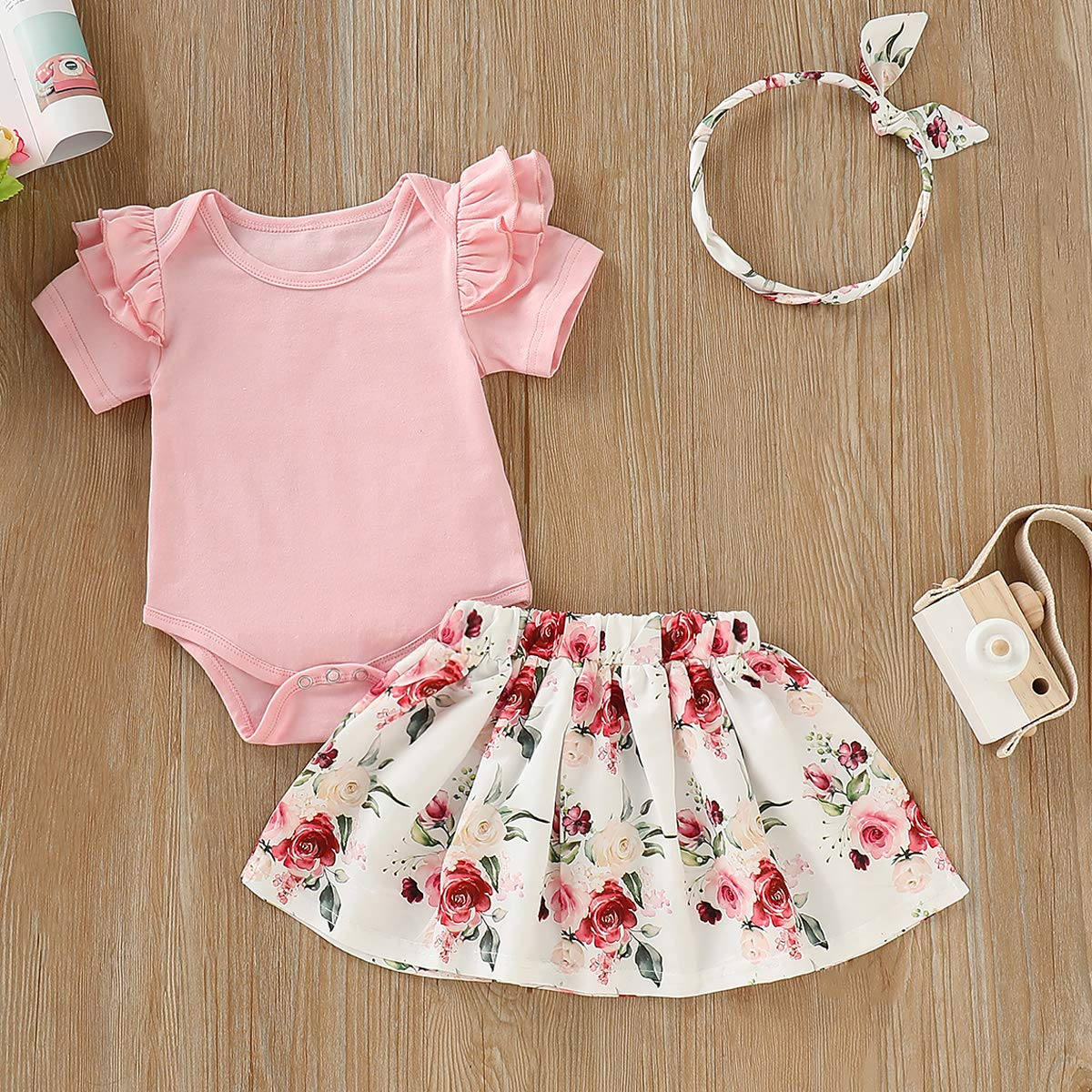 Infant Toddler Baby Girl Fall Clothes Ruffle Short Sleeve Romper+Floral Tutu Skirt+Headband 3Pcs Winter Outfits
