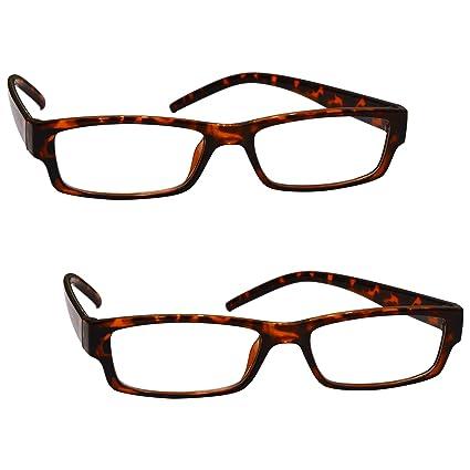 La Compañía Gafas De Lectura Marrón Carey Ligero Cómodo Lectores Valor Pack 2 Estilo Diseñador Hombres Mujeres UVR2PK032BR Dioptria +1,50