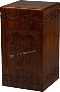 STAR INDIA CRAFT Tree of Life Urns for Human Ashes Adult (11.25 x 6.25 x 6.25) | 250 Cu/in (Simple Rosewood Heart)