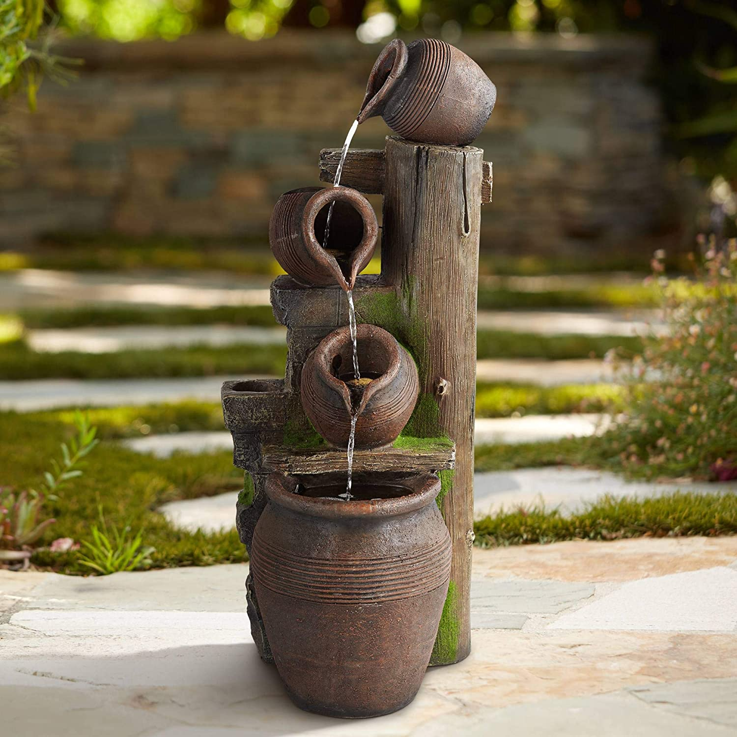 John Timberland Four Pot Rustic Outdoor Floor Water Fountain with Light LED 39 1/4