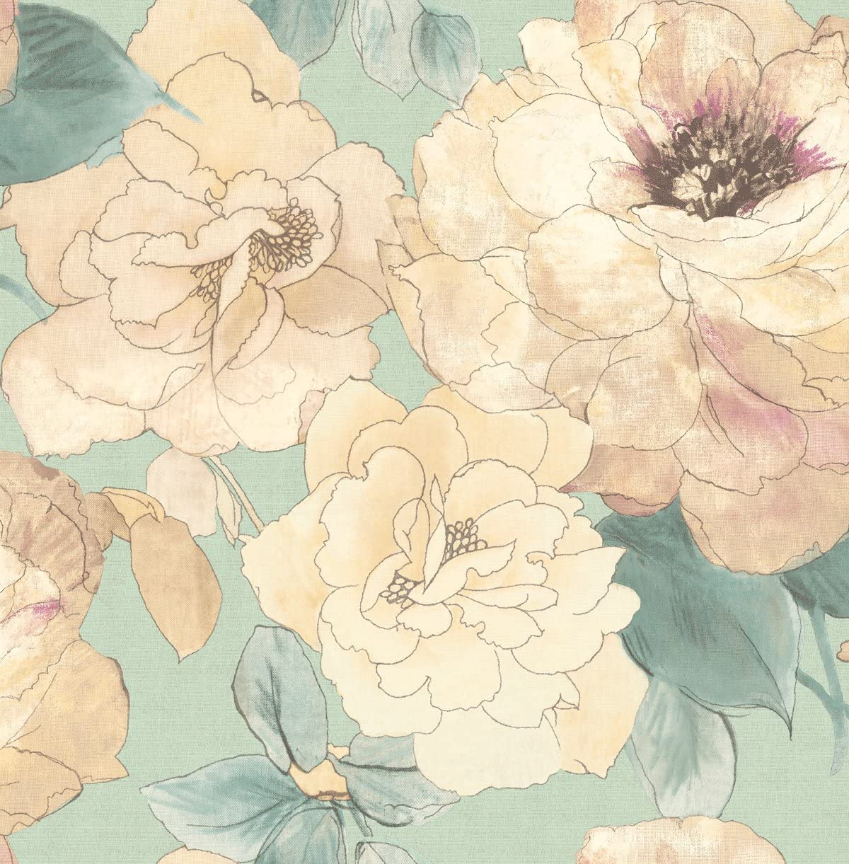 Blue Floral Wallpaper Watercolor Wallpaper Rose Wallpaper Pink