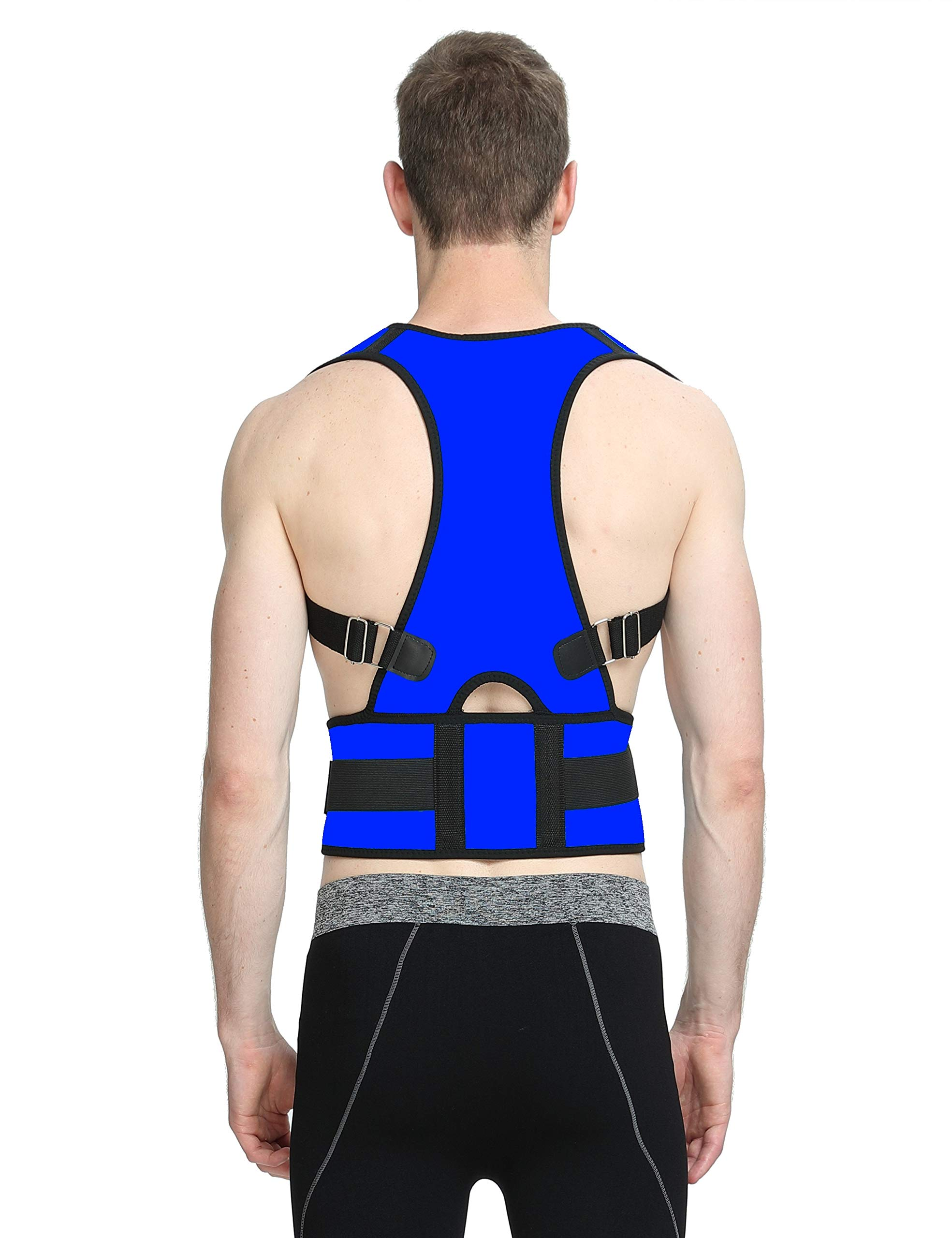 PosturePerfect - Posture Support Brace – Comfortably Prevent Slouching & Reduce Back Pain – Fully Adjustable Lumbar Back and Shoulder Support – for Men and Women - Neoprene (Blue, XL)