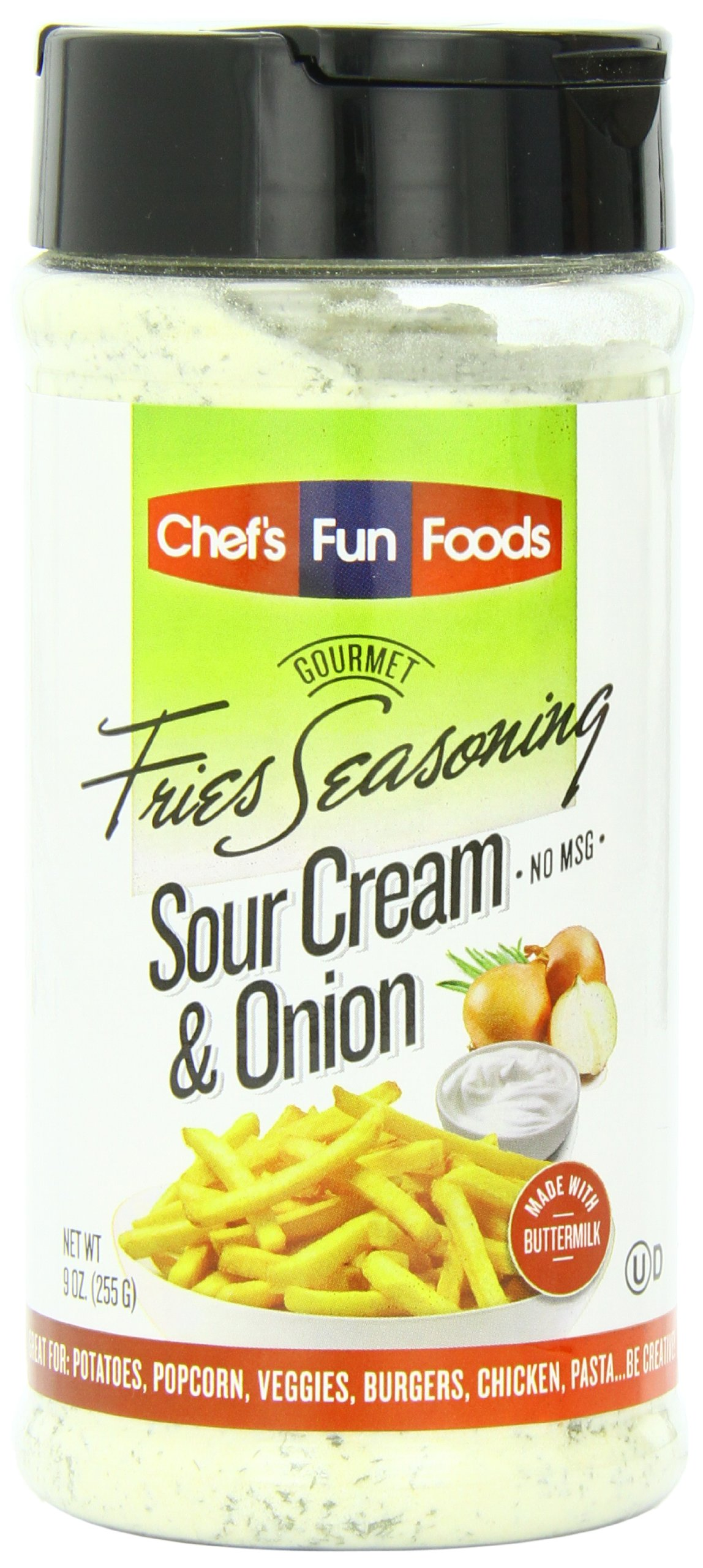 Gourmet Fries Seasonings Bottle, Sour Cream and Onion, 9 Ounce