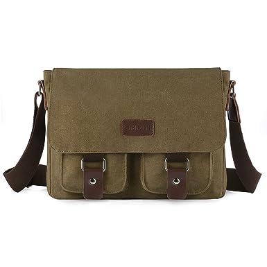 SMRITI 14-Inch Canvas Messenger Bag Laptop Satchel for School - Coffee fc1ead372fb62
