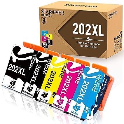 STAROVER 5x 202XL 202 XL Cartuchos De Tinta Compatible Para Epson Expression premium xp-6000 Epson Expression premium xp-6005 Epson Expression Premium ...