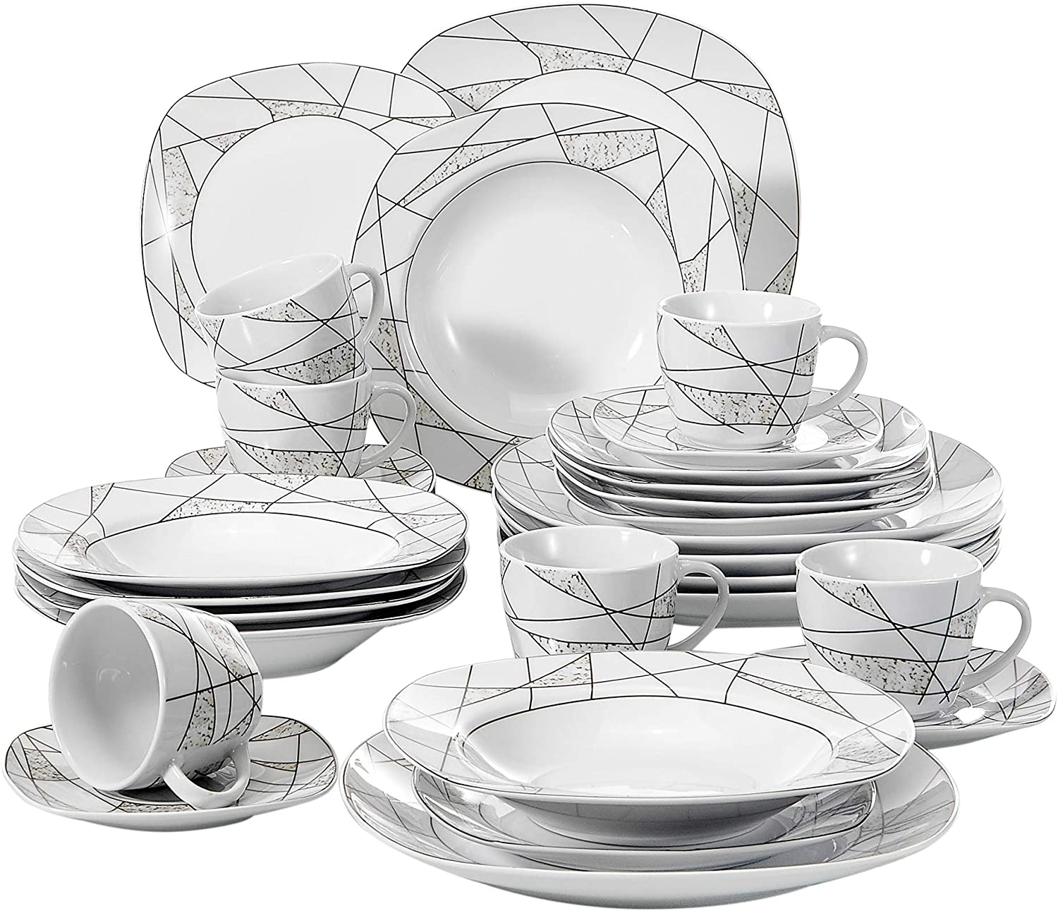 VEWEET 30-Piece Porcelain Dinnerware Set Ivory White Irregular Patterns Kitchen Plate Sets with Dinner Plate, Soup Plate, Dessert Plate, Saucer and Mug, Service for 6 (SERENA Series)