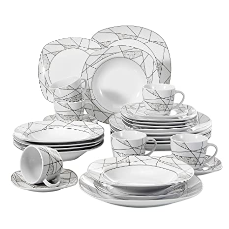VEWEET 30 Piece Porcelain Dinnerware Set Ivory White Irregular Patterns Kitchen Plate Sets With Dinner Plate Soup Plate Dessert Plate Saucer And