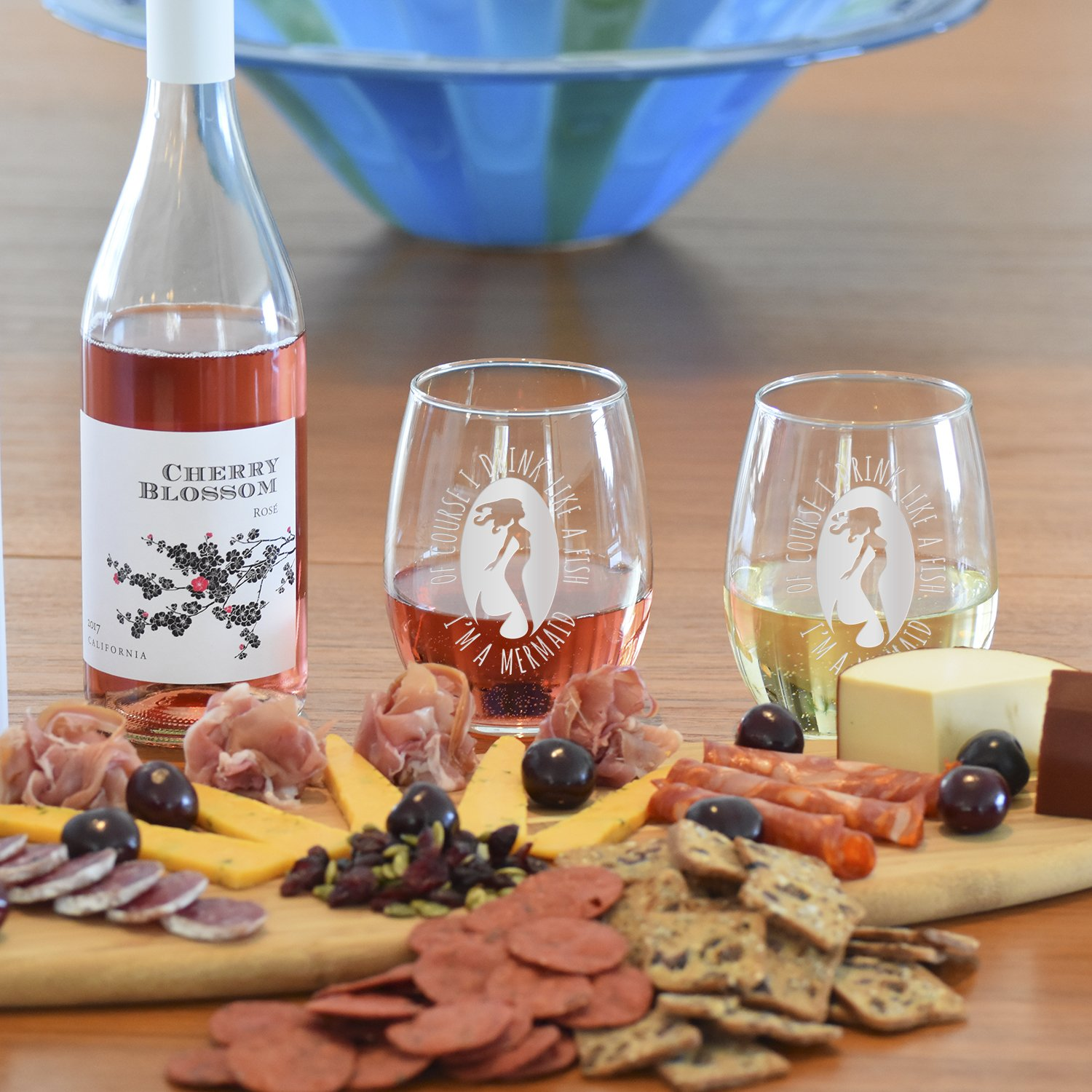 Etched Stemless Wine Glasses 2 Glass Set Packed in an Stylish Gift Box The Perfect Mermaid Lovers Gift The Surfer/'s Table Of Course I Drink Like a Fish I/'m a Mermaid 21oz Premium Hand Etching