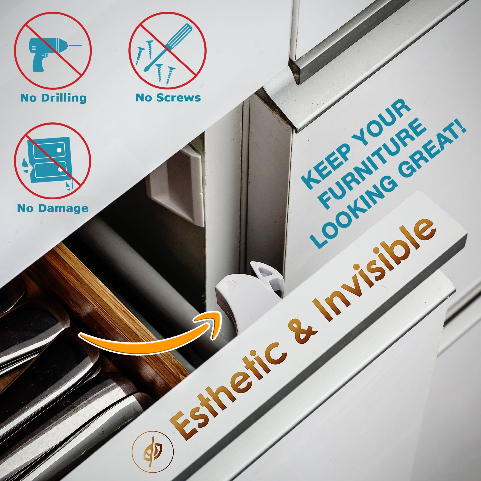 Invisible Magnetic No Drill Safety Lock: Keep Your Baby Safe! Secure Kitchen & Bedroom Cabinets & cupboards With 8 Child Proof Door & Drawer Locks for Kids & toddlers.2 Keys & 3M Adhesive Straps by MQP (Image #6)