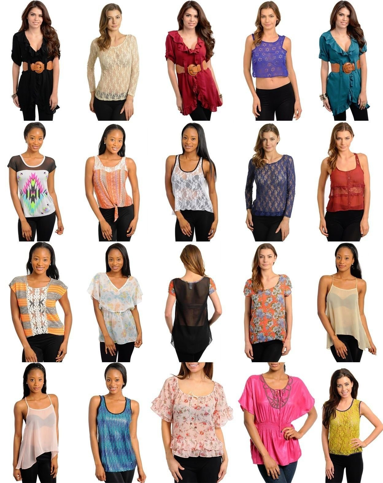 Variety Wholesale Lot 101 Pcs Womens Mixed Apparel Clothing Tops Skirts Lingerie S M L