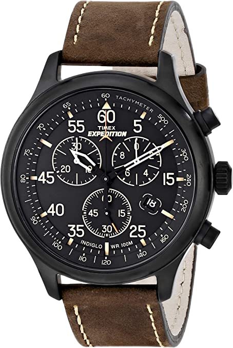 Timex Men's Expedition Field Chronograph Watch, analog display, Quartz movement. Black dial, water-resistant watch.