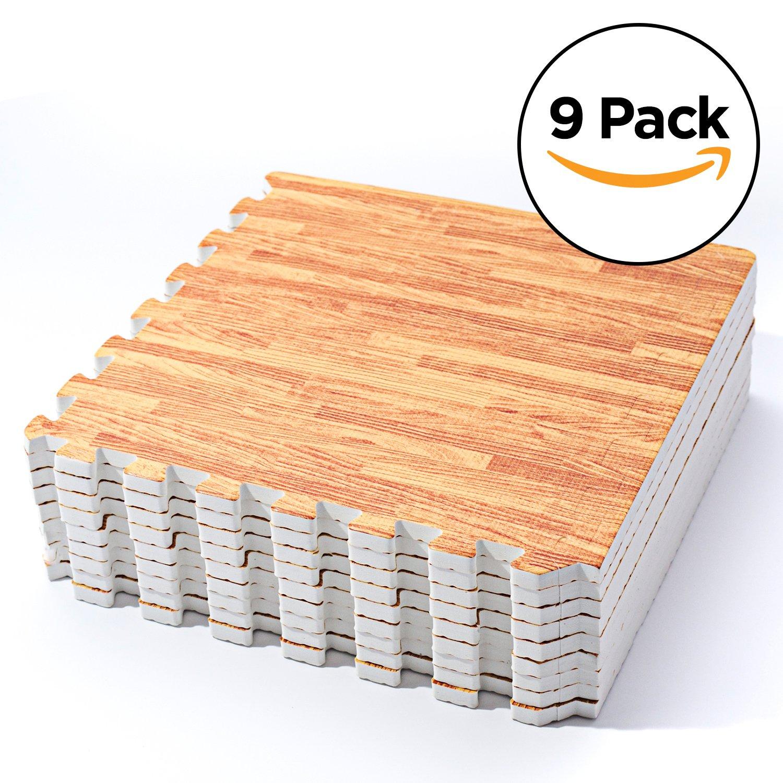 Basics Hardware Steckelement-Puzzlematten mit Holzmotiv (Helles Holz)