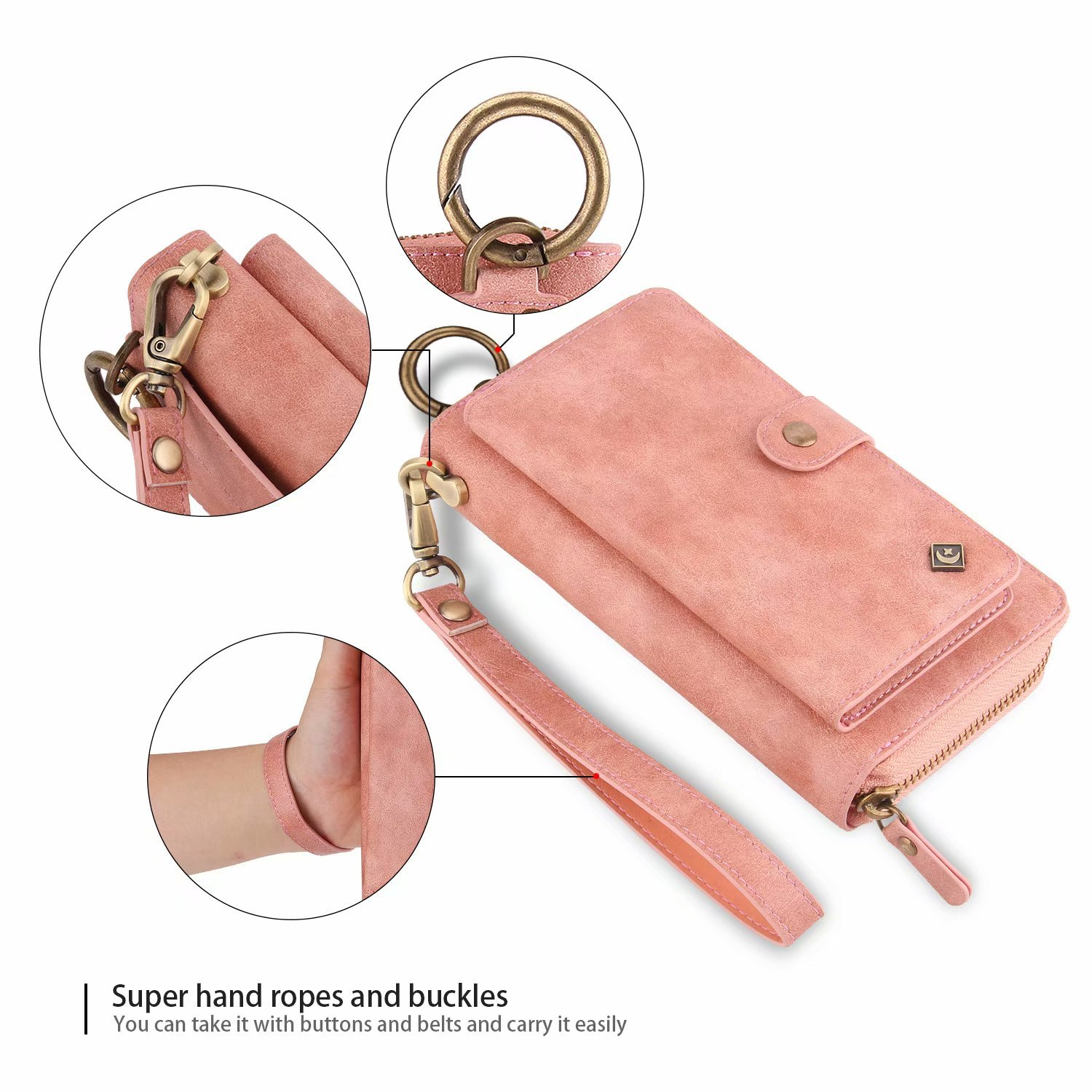 Galaxy S9 Plus Wallet Phone Case,GX-LV Samsung Galaxy S9 Plus Wallet Case Leather Case Cover Zipper Pouch with 14 Card Holder,Magnetic Detachable Case For Samsung Galaxy S9 Plus (Pink) by GX-LV (Image #5)