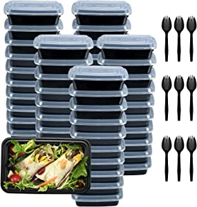 Plastic Meal Prep Containers 28oz 50 Pack, Food Storage Containers with Lids Airtight, Food Prep Containers for Freezer, Reusable Bento Togo Food Box, Disposable Takeout Deli Containers