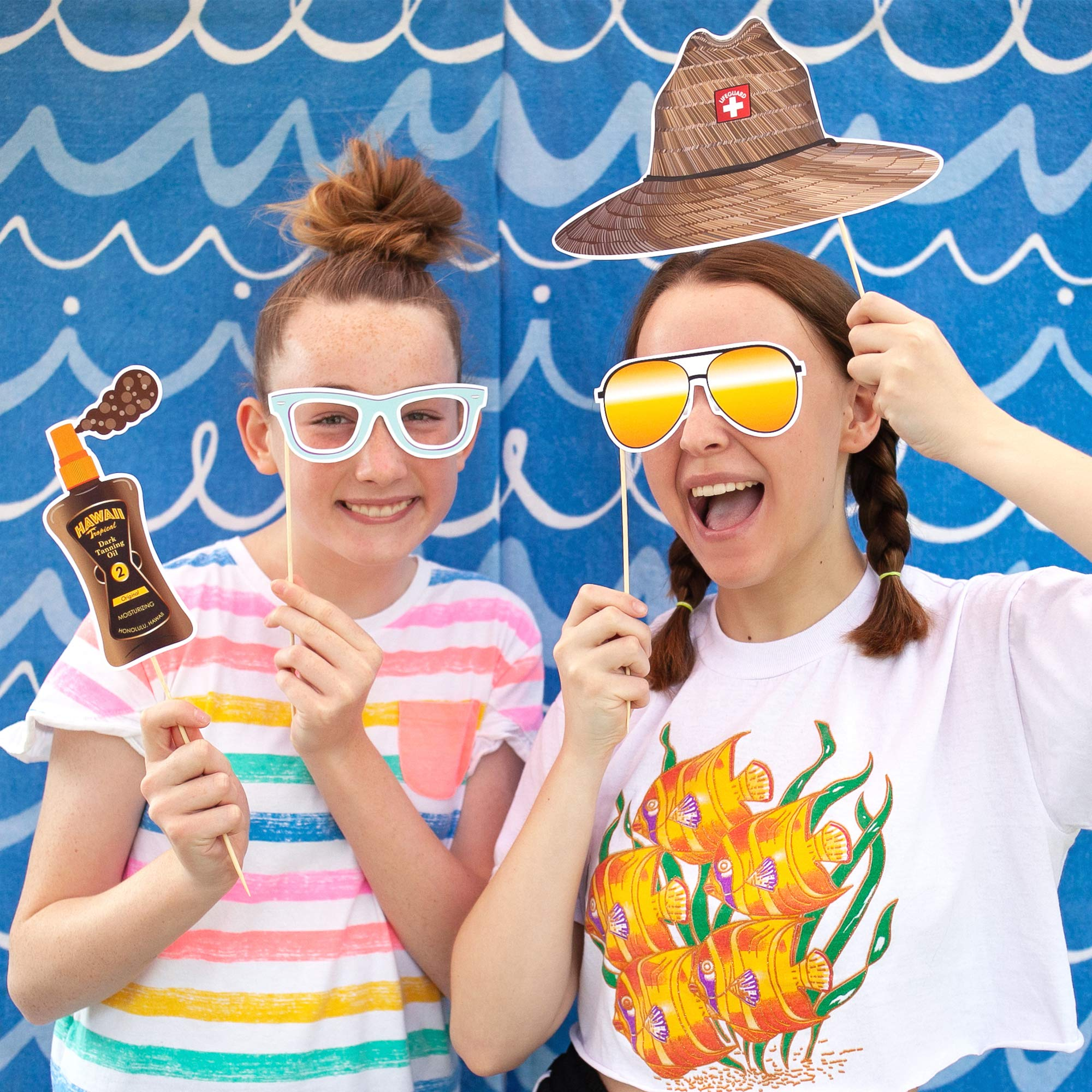 Beach Party Photo Booth Props by Paper and Cake - 18 piece set by Paper & Cake (Image #3)