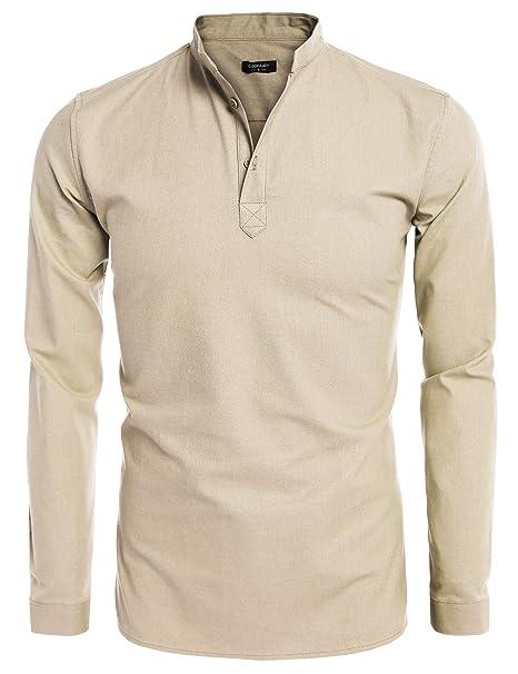 Coofandy Camisa de Lino Hombre Cuello de Henley Manga Larga Casual y Fresca: Amazon.es: Ropa y accesorios
