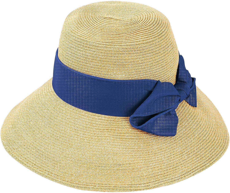 Tacobear Damen Sonnenhut Sommerhut UV Schutz faltbar Sonnenhut Strandhut Stroh Fischerhut Breite Krempe f/ür Frauen