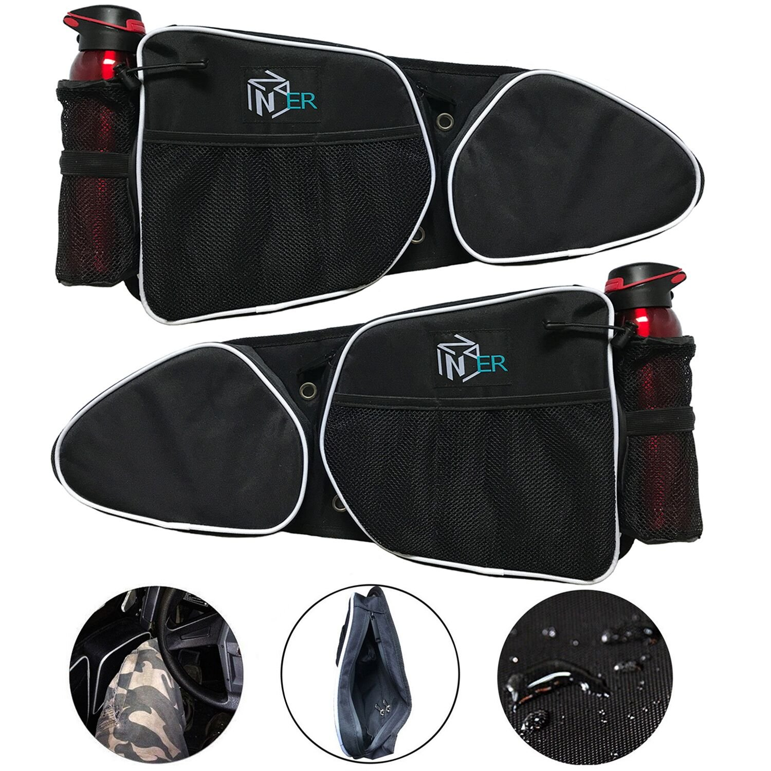 Zinger RZR Door Bags for 2014-2017 Polaris XP/RZR XP4 1000/RZR Turbo/Turbo 4 and 2015-2017 RZR S 900 Front Doors,with One Passenger Side Door Bag + One Driver Side Storage Bag, with Knee Protection