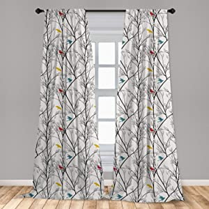 "Ambesonne Forest Curtains, Woodland Inspired Abstract Design Leafy Tree Branches and Colorful Birds, Window Treatments 2 Panel Set for Living Room Bedroom Decor, 56"" x 84"", Coconut White"