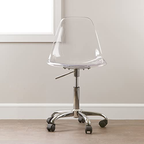 South Shore Annexe Acrylic Office Chair with Wheels-Clear, White