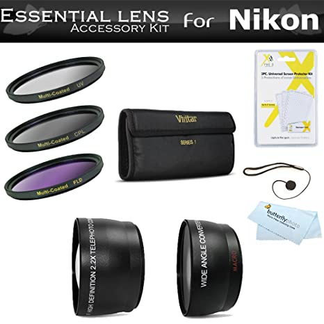 Essential Lens Kit For Nikon Df D5500 D5300 D3300 D5200 D3200 D610 DSLR P600 Camera Which Use (18-55mm 55-200mm 50mm) Nikon Lenses Includes Wide Angle lens + 2X Telephoto Lens + 3pc Filter Kit +++ Cam at amazon