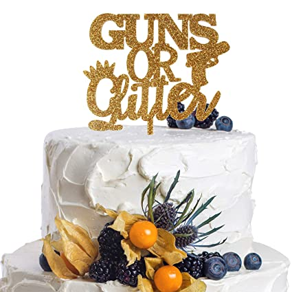 Amazoncom Guns Or Glitter Gold Acrylic Cake Topper Gender Reveal